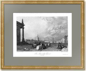 Адмиралтейская площадь в Петербурге. Викерс. 1835г. Старинная гравюра
