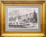 Старинный гравированный вид Петергофа 19 века - антикварный подарок