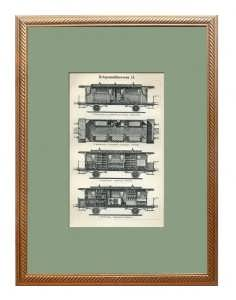 Военно-санитарные вагоны. 1894г. Старинная гравюра. Подарок в кабинет железнодорожника