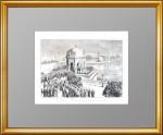 Иордань на Неве в Петербурге на праздник Крещения. 1874 г.  Старинная гравюра в подарок