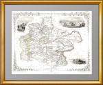 Старинная карта 19 века: Казахстан, Туркменистан, Узбекистан. Прекрасный антикварный VIP подарок