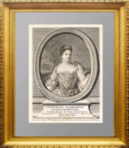 1730г. Екатерина I. Портрет. Эрмитажная коллекция. Натье/Дюпен. Старинная гравюра.