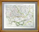 1861г. Европейская Россия по Штилеру. Юг. Старинная карта. Подарок руководителю в кабинет