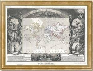 Старинная декоративная карта Мира. 1852г. Подарок руководителю в кабинет