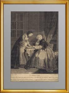 """Старинная жанровая гравюра """"LA RELEVEE"""". 1744г. Музейный экземпляр. Лувр. Эффектный дорогой ВИП подарок любимой женщине, солидной даме"""
