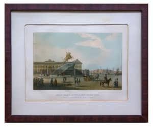Сенатская площадь в Петербурге. XIX век. Антикварная редкая литография