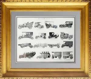 Немецкие автомобили начала 20 века. 1908г. Антикварная гравюра