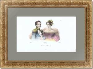 Николай I с супругой Александрой Фёдоровной. 1838г. Верне. Старинная гравюра
