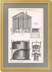 Газовое освещение. 1896г. Старинная гравюра - антикварный подарок газовику