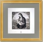 Мадонна Конестабиле. 1821г. Рафаэль/Амслер. Антикварная гравюра - музейный экземпляр
