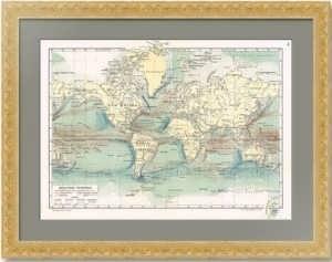 Морские течения. 1899г. Старинная карта. Издательство «Просвещение»