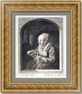 Старушка, разматывающая нитки (Мотальщица). 1760г.(?) Доу. Музейный экземпляр. Антикварная гравюра