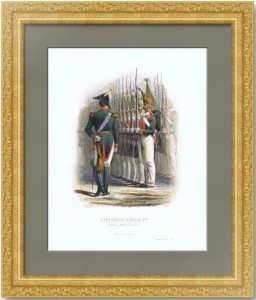 Николай I и гвардейцы. 1855г. Ивон/Колин. Aнтикварная гравюра, акварель