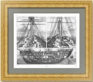 История флота. 1857г. Французский военный корабль. Старинная гравюра