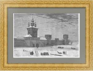 Москва. Новодевичий монастырь. 1872г. Мойне. Лист 20х30. Старинная гравюра