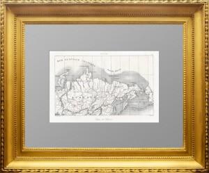 Сибирь и Американская Россия. 1838 год. Тюнот Дювотне. Подлинная антикварная карта