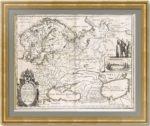 Карта России Герритча по рисунку Годунова. Мериан. 1646г. Роскошный антикварный VIP подарок