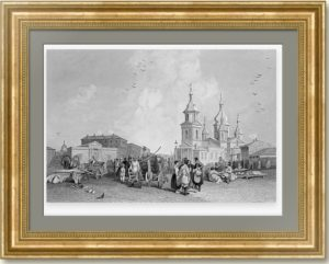Петербург. Сенная площадь. 1835г. Викерс. Старинная гравюра - антикварный подарок