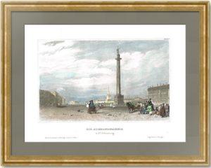 Александровская колонна в Петербурге. Гравюра, акварель. 1836г. Викерс