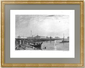 Петербург. Нева и Адмиралтейство. 1837г. Викерс. Старинная гравюра - антикварный подарок