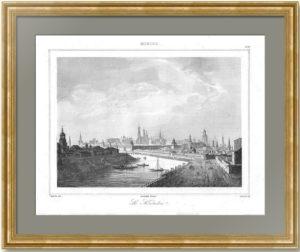 Москва. Вид на Москва-реку и Кремль. 1838г. Кадоль. N99. Антикварный подарок