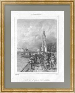 Колокольня Никольского собора. Петербург. 1838г. Старинная гравюра - антикварный подарок