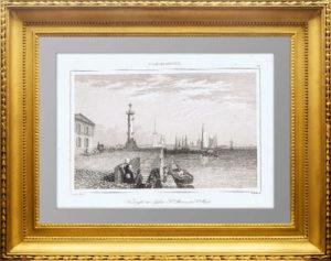 Вид на Ростральную колонну и Петропавловскую крепость. 1838г. N56