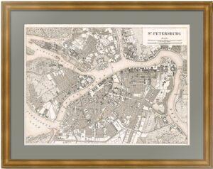 Антикварный план Санкт-Петербурга 1844 года. Хек. Достойный подарок в кабинет руководителя