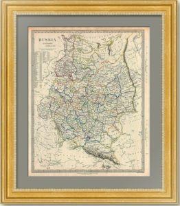 Европейская Россия с дорогами и демографической таблицей. 1844г. Бофорт. Старинная карта