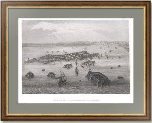 Кронштадт с высоты птичьего полёта. 1850г. Старинная гравюра.