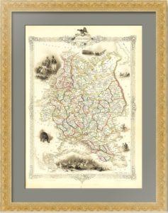 Россия. Европейская часть. Декоративные вставки. 1851г. Антикварная карта в подарок