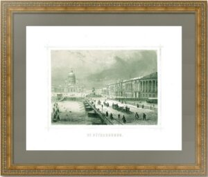 Петербург. Сенат и Исаакиевский собор. 1853г. Старинная гравюра - антикварный подарок