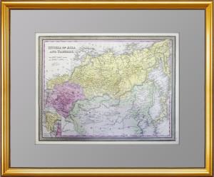 Россия в Азии и Тартария с миниатюрной картой Кавказа. 1853 г. Митчелл. Антикварная карта