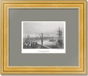 Санкт-Петербург. Вид на Неву. Руарг. 1853г. Антикварный подарок начальнику в кабинет