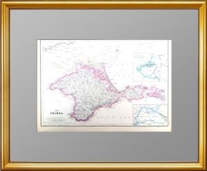 Крым с миниатюрными вставками Чёрного моря и Севастополя. 1859г. Старинная карта