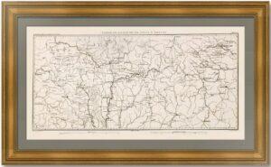 Дороги запада Российской империи. Дюонне. 1860г. Старинная карта, подарок дорожнику