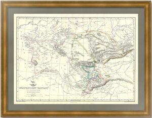 Независимая Тартария - нынешний Казахстан и азиатские республики. 1861г. Старинная карта