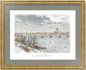 Санкт-Петербург. Нева. Ручная акварельная раскраска. 1880г. Старинная гравюра