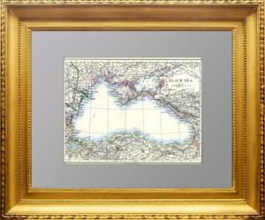 Черное море, Крым, часть Новороссии и Ставрополья. 1892г. Джонстон. Антикварная карта