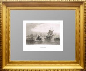 Архангельск. 1842 год. Старинная немецкая гравюра. Антикварный подарок
