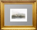 Ипатьевский монастырь. Старинная гравюра- Ручная акварельная раскраска. 1841г.