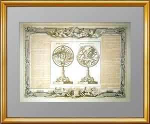 Небесные глобусы. 1770г. Музейный экземпляр. Старинная гравюра - ВИП подарок