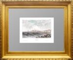 Кострома. Старинная гравюра. Ручная акварельная раскраска. 1841г.