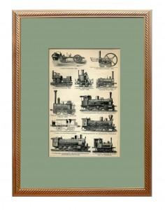 Локомотивы I. 1895 г. Антикварная кабинетная гравюра в подарок железнодорожнику, логисту