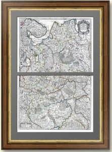 Большая карта Московии (два листа). 1706г. Делиль. Роскошный VIP подарок в кабинет, музей