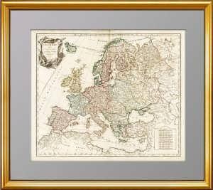 Антикварная карта Европы с Россией. 1751г. Представительский VIP подарок в кабинет