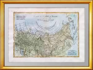 Антикварная карта России в Европе и Азии по Бонне. 1780г.