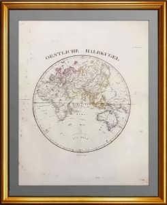 Старинная карта Мира. Восточное полушарие. 1836г. Антикварный подарок руководителю