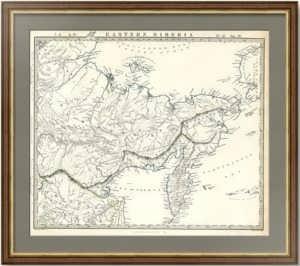 Восточная Сибирь, Дальний Bосток и русская Аляска. Пядышев. 1838г. Старинная карта в подарок