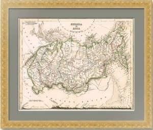 Азиатская часть Российской империи. 1840г.  Довер. Старинная карта - антикварный подарок